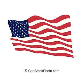 amerika, egyesült, illustration., usa, nemzeti lobogó, nap, hullámzás, háttér, amerikai, vektor, tervezés, negyedik, undependence, július, logo., fehér, element., egyesült államok