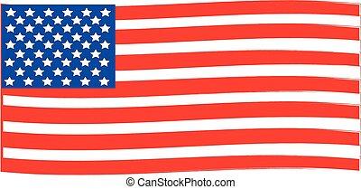 amerika, lobogó, fehér, húzott, háttér