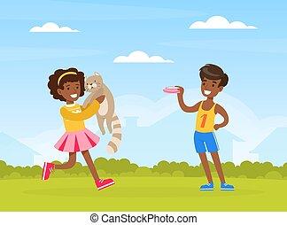 amerikai, afrikai, táj, szabadban, gyerekek, karikatúra, fiú, táplálás, játék, macska, vektor, leány, állat, kedvenc, boldog, ábra, birtoklás, zöld, nyár móka
