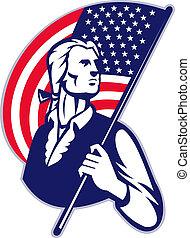 amerikai, csíkoz, patrióta, minuteman, csillaggal díszít, lobogó