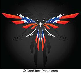 amerikai, elvont, repülés, lobogó