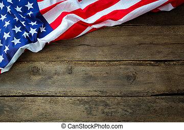 amerikai, erdő, lobogó, háttér