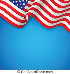 amerikai, hullámos, lobogó