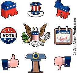 amerikai, kilenc, választások, ikonok