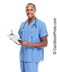 amerikai, orvos, prescription., afrikai, írás
