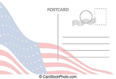 amerikai, postai, lobogó, kártya