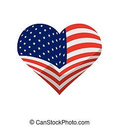amerikai, szív, lobogó