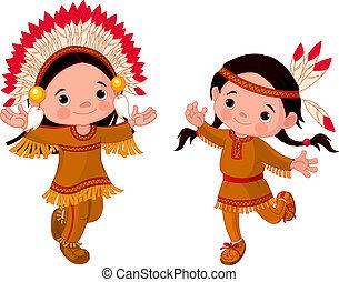 amerikai, tánc, indiánok