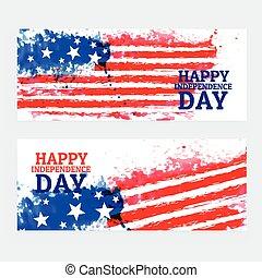 amerikai, vízfestmény, lobogó, szalagcímek, nap, szabadság