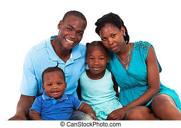 amerikai, vidám, család, afrikai