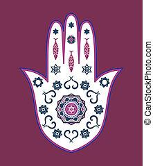 amulett, vektor, zsidó, hamsa, kéz