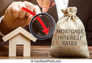 analízis, lefelé, bukás, besorol, credit., pénz, jelzálog, tiszteletdíj, kamat, szó, csökkentő, táska, mortgages., nyíl, ház, alacsony, house.