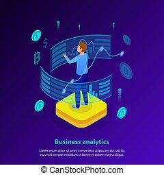 analytics, isometric, ügy, háttér