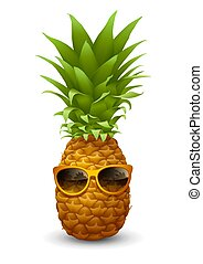 ananász, friss, napszemüveg, érett