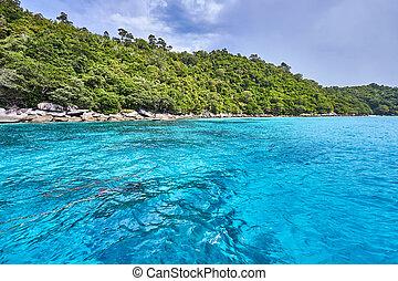 andaman, táj, sky., tenger, thaiföld, indiai, kék, felszín, óceán