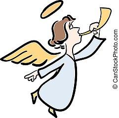 angel elpirul, fiatal, ábra, vektor, háttér, fehér, hallócső