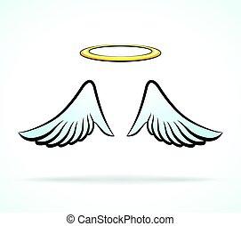 angel szárny, dicsfénnyel övez