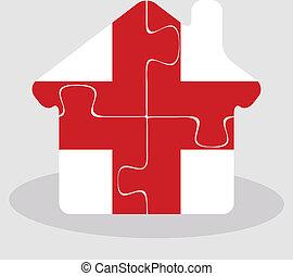 anglia, épület, rejtvény, lobogó, otthon, ikon