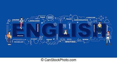 angol, tervezés, ikonok, lakás, szó, oktatás