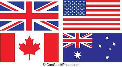 angol, zászlók, beszélő, országok