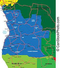 angola, térkép, politikai