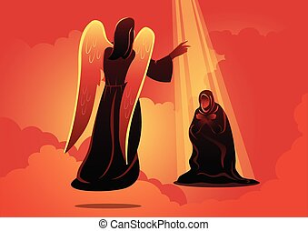 angyal, ábra, mária, meglátogat, vektor