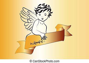 angyal, arany, jelkép, karácsony, vektor, kép, szalag