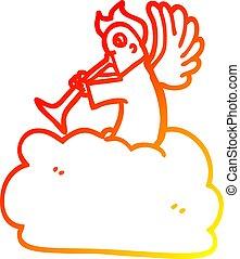 angyal, gradiens, rajz, meleg, egyenes, hallócső, karikatúra, felhő