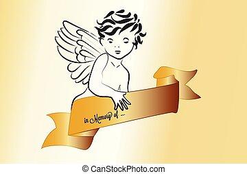 angyal, jelkép, vektor, jel, vallásos, szalag