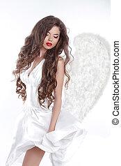 angyal, leány, hair., fújás, formál, hullámos, győz, hosszú, ruha, fehér