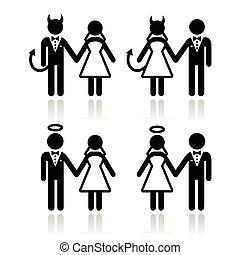 angyal, párosít, esküvő, ördög, -