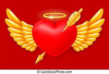 angyal, szív, kasfogó, éles, dicsfénnyel övezni
