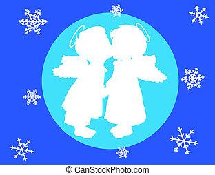 angyalok, két, hópihe