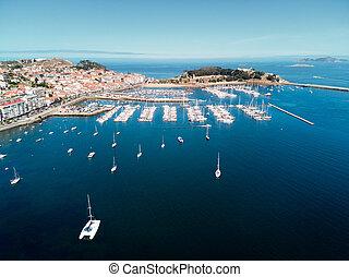 antenna, baiona, erőd, kikötő, kilátás, csónakázik