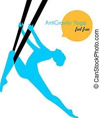 anti-gravity, beállít, nő, jóga, árnykép