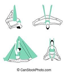 anti-gravity, vektor, design., minimalistic, poses., antenna, állhatatos, jóga, ábra, slicc