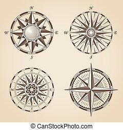 antik, állhatatos, öreg, szüret, tengeri, cégtábla, vektor, roses., iránytű