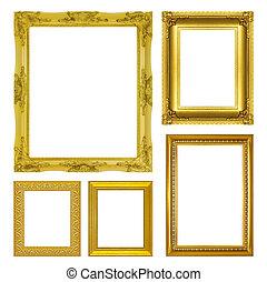 antik, állhatatos, arany, keret, elszigetelt, háttér, fehér