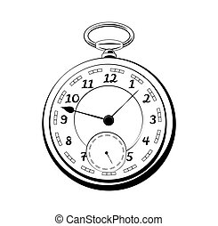 antik öreg, szüret, elszigetelt, zseb, watch., vektor, fehér