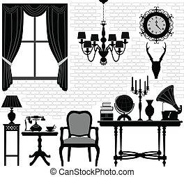 antik öreg, szoba, előszoba, berendezés