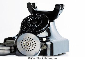 antik, öreg, telefon., retro