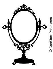antik, alkat, árnykép, tükör