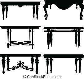 antik, asztal, ősi, klasszikus