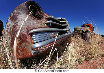 antik, autók, amerikai, szabadban