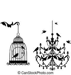 antik, birdcage, csillár