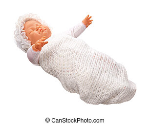 antik, csecsemő baba, elszigetelt