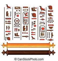 antik egypt, papirusz, felcsavar, vektor, karikatúra
