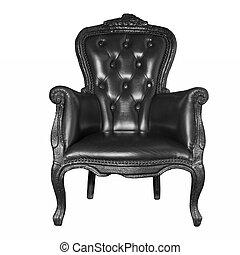 antik, fekete, szék, elszigetelt, megkorbácsol, fehér