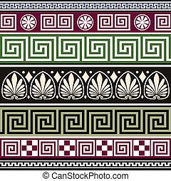 antik, görög, állhatatos, dísztárgyak