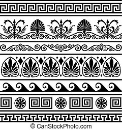 antik, görög, határok, állhatatos, vektor